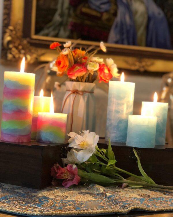 شمع استوانه ای مرمریت ایمپریال