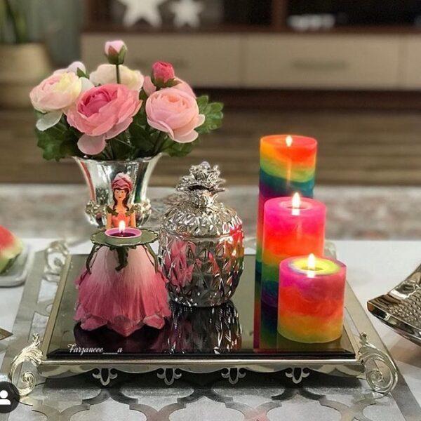 شمع استوانه ای ایمپریال مرمریت رنگین کمان آفتاب